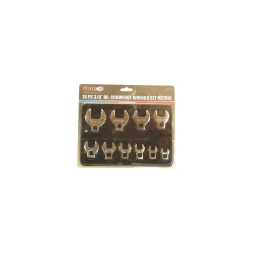 10 Pc 3/8'' Sq. Dr. Crowfoot Wrench Set Metric