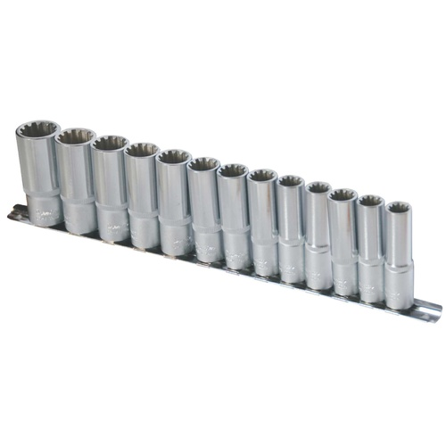 10 Pc 1/2'' Sq. Dr. Spline Deep Socket Set Metric