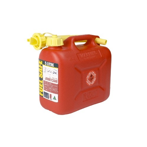 FUEL CAN RED 5LTR PLASTIC