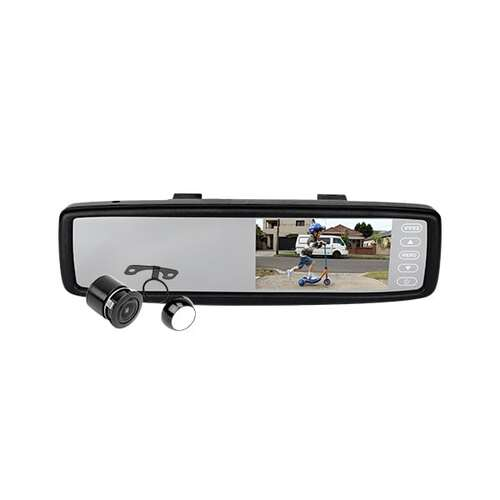 "Integrated 4.3"" TFT LCD Display Clip On Monitor/Rear View Mirror w 1/4"" Camera"
