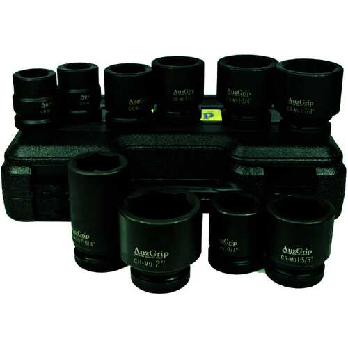 "10 Pc 1"" Sq. Dr. 6Pt. Impact Socket Set SAE"