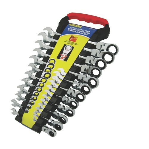 12 PC FLEXIBLE-HEAD RATCHET COMBINATION SPANNER SET METRIC