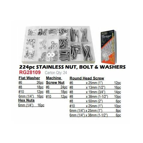 224 Pce Stainless Nut Bolt & Washer Kit