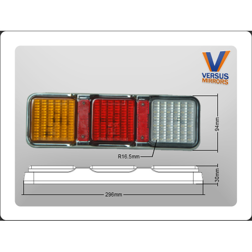 Led Combination With Reverse with Reflectors Amber Stop Tail